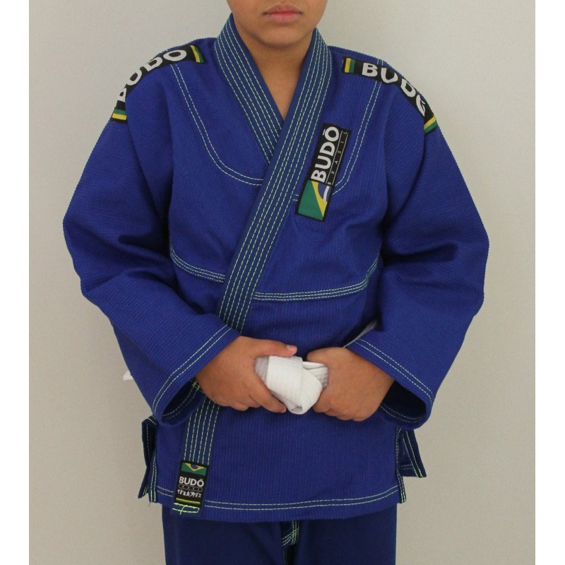 Kimono Jiu Jitsu Trançado Infantil Azul