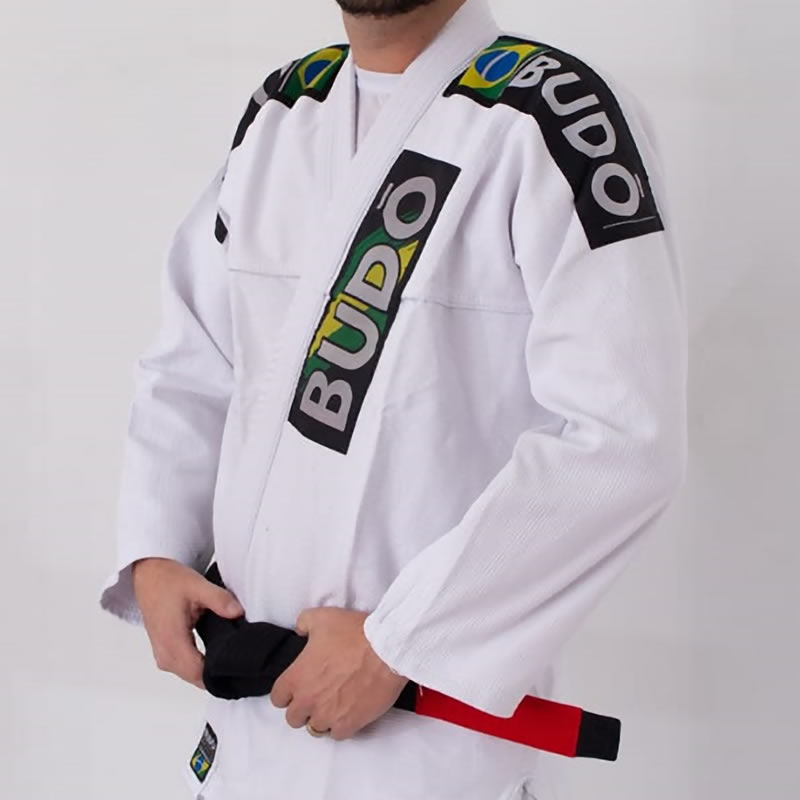 Kimono Jiu Jitsu Branco Trançado Modelo Tradicion...