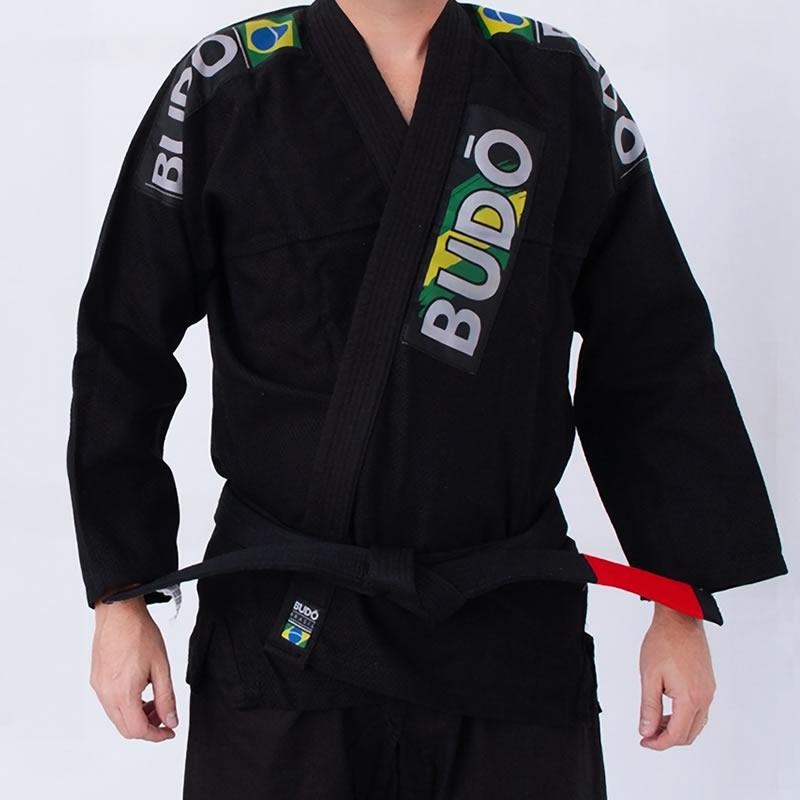 Kimono Jiu Jitsu Preto Trançado Modelo Tradicional 01