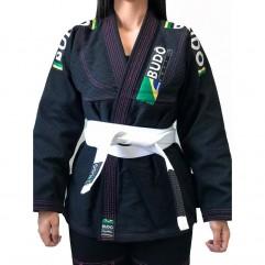 Kimono Competidor Feminino Preto Com Linhas Rosa