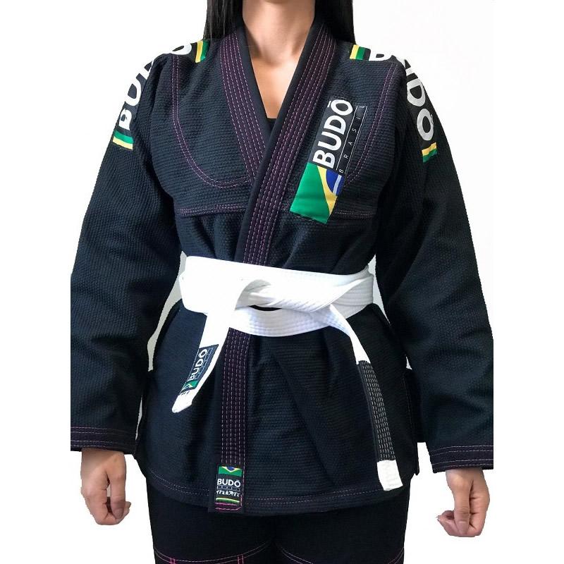 Kimono Competidor Feminino Preto Com Costura Lilá...