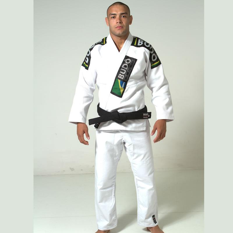 Kimono Jiu Jitsu Branco Trançado Modelo Premium