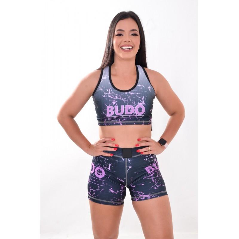 Short Fitness Compressão Cinza e Rosa